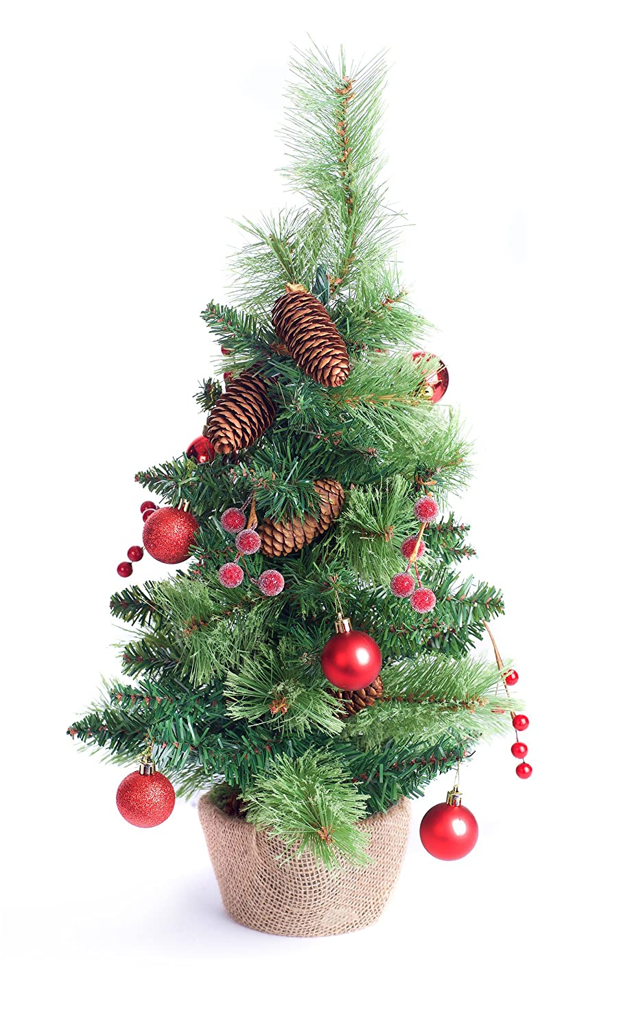 Best Artificial 2ft / 60cm Small Decorated Indoor Christmas Tree with 20 Warm White LED Battery Lights (Gold)