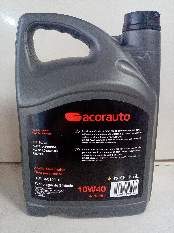 SACORAUTO Aceite 10W40 5L.: Amazon.es: Coche y moto