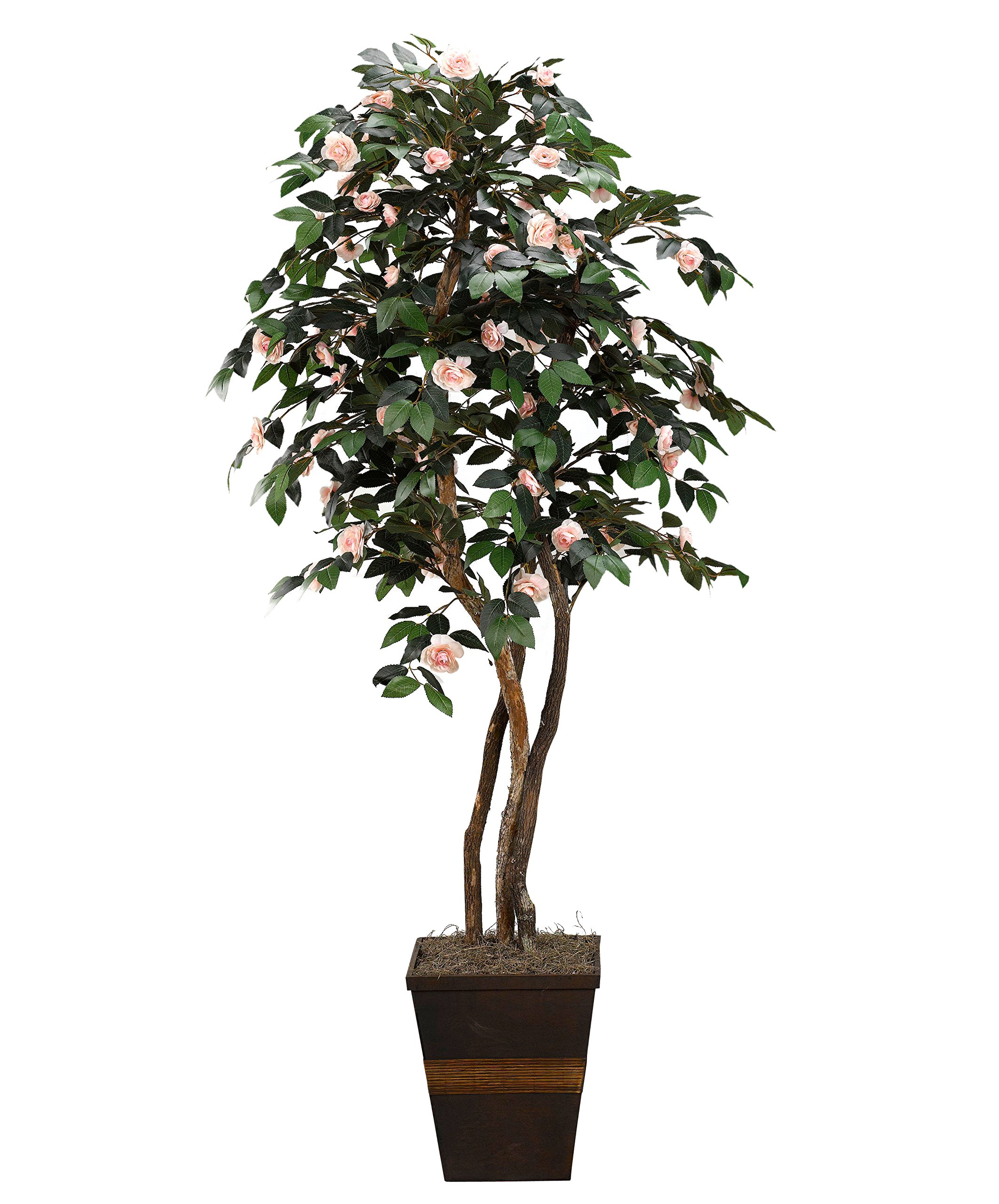 D & W Silks 317114 Camillia Tree in Square Wood Planter, Light Pink