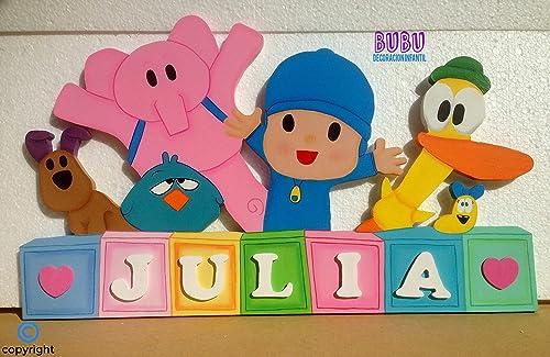 Placa infantil con nombre Pocoyó y sus amigos: Amazon.es ...