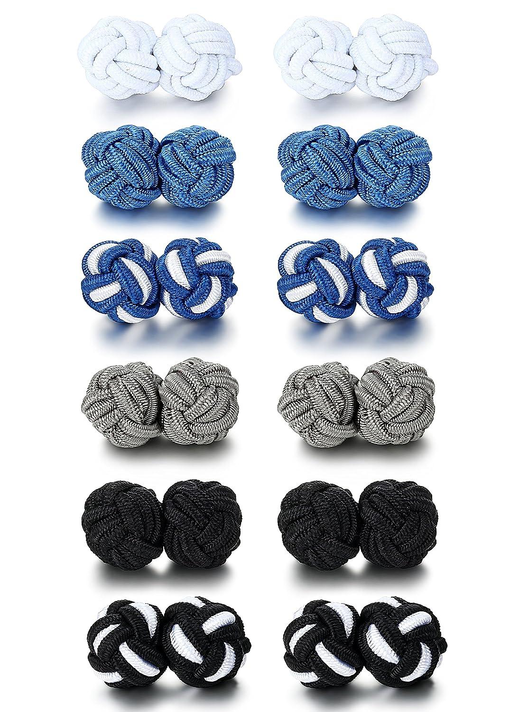 Jstyle Silk Knot Cufflinks for Men Women Shirt Unique Vintage 6 Pairs a Set C9434