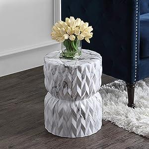 "Chevron Drum 17.5"" White Marble Finish Ceramic Garden Stool Glam Mid-Century Modern Contemporary Glossy"
