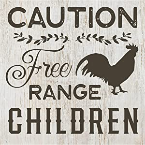 MRC Wood Products Caution Free Range Children Wall Sign 12x12