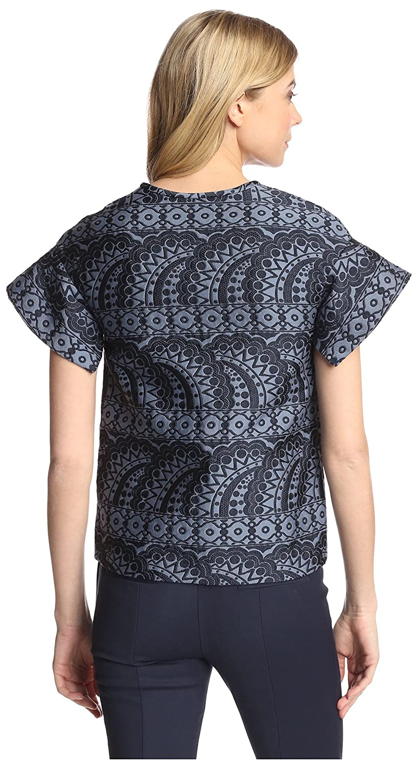 6ef981afd2a Amazon.com: Cynthia Rowley Women's Jacquard Flutter Sleeve Top, Navy, M:  Clothing