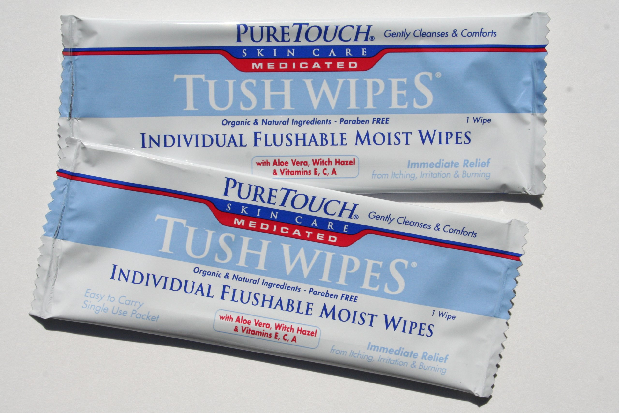 PureTouch MEDICATED Tush Wipes for adults Individual Flushable Moist Wipes BULK 350 Single-Use-