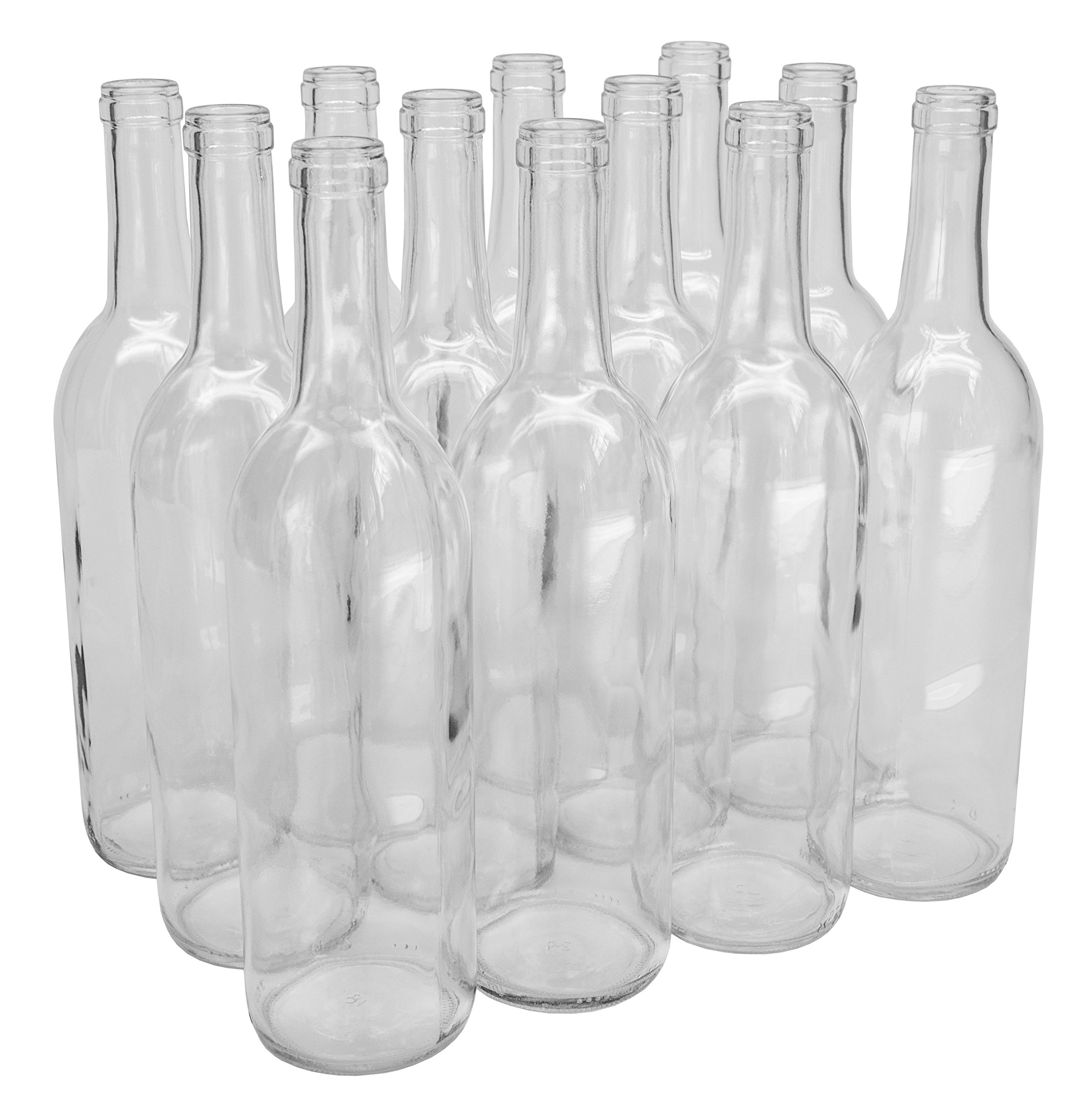 North Mountain Supply 750ml Glass Bordeaux Wine Bottle Flat-Bottomed Cork Finish - Case of 12 - Clear/Flint by North Mountain Supply