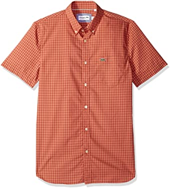 352c104d4df35f Lacoste Men s Short Sleeve with Pocket Gingham Poplin Regular Fit Woven  Shirt