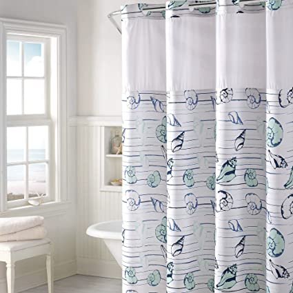 Hookless Seashell Stripe Print Shower Curtain With PEVA Aqua