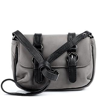 6eb48994cfe22 SID   VAIN Schultertasche Leder LEEDS klein Handtasche Damen Umhängetasche  echte Ledertasche Damentasche grau