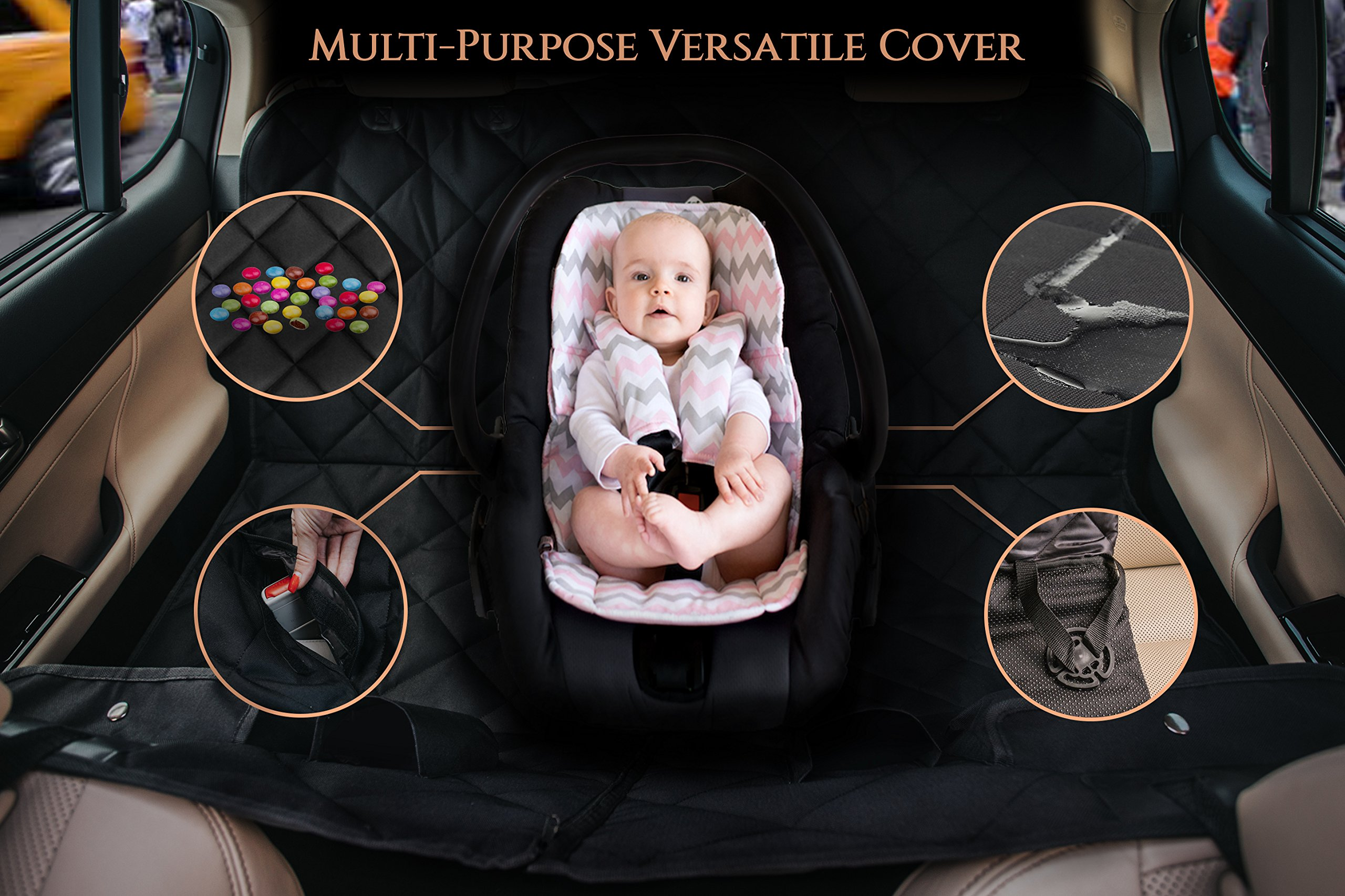 EVOest Dog Car Seat Cover for Cars/Trucks/SUV's,Hammock Convertible, Waterproof Pet Back Seat Protector with Extra Side Flaps, Bonus Pet Seat Belt & Carry Bag (Medium) by EVOest (Image #8)