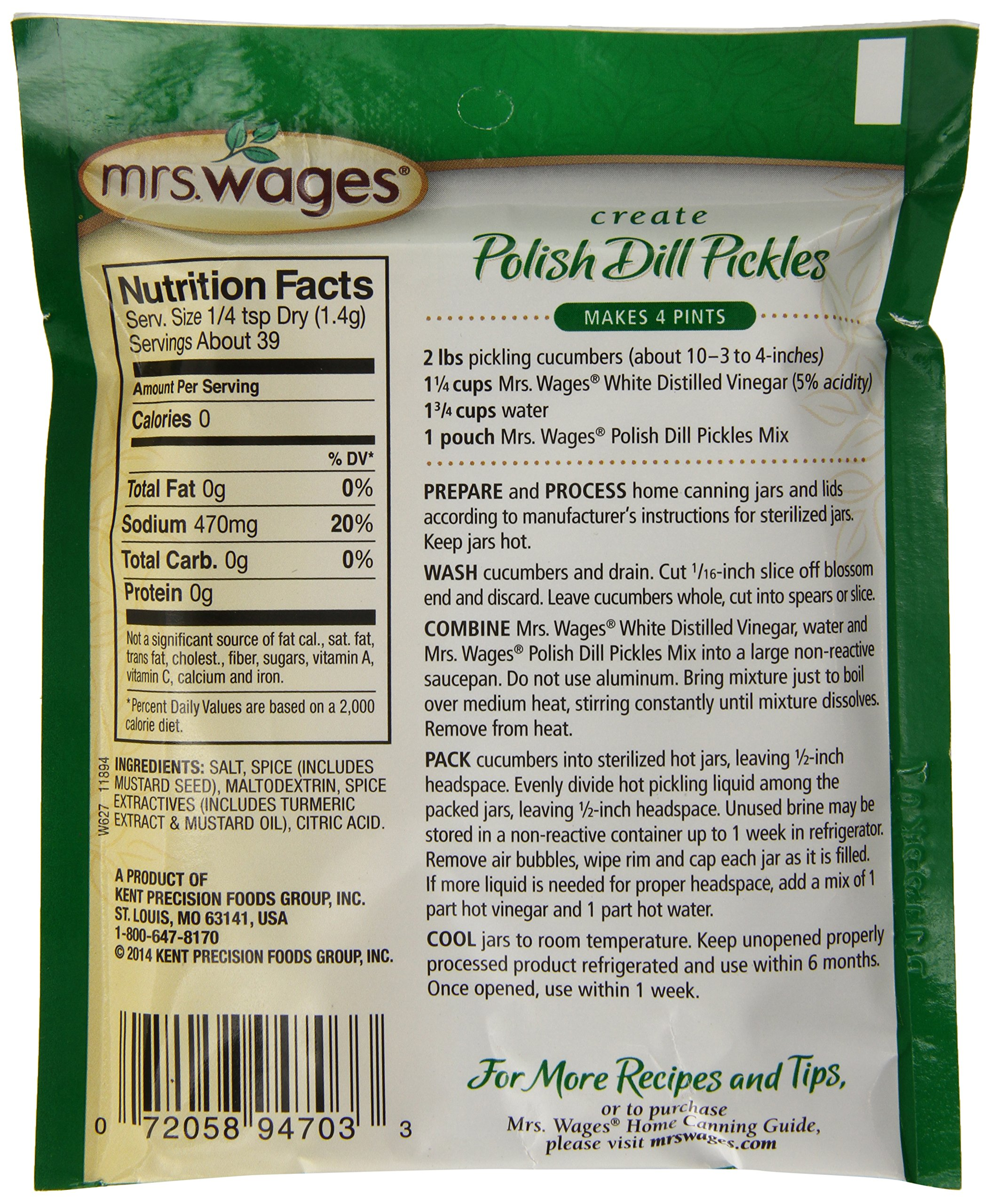 Mrs. Wages Polish Refrigerator Pickle Mix, 12-1.9-Ounce Pouches by Mrs. Wages (Image #4)