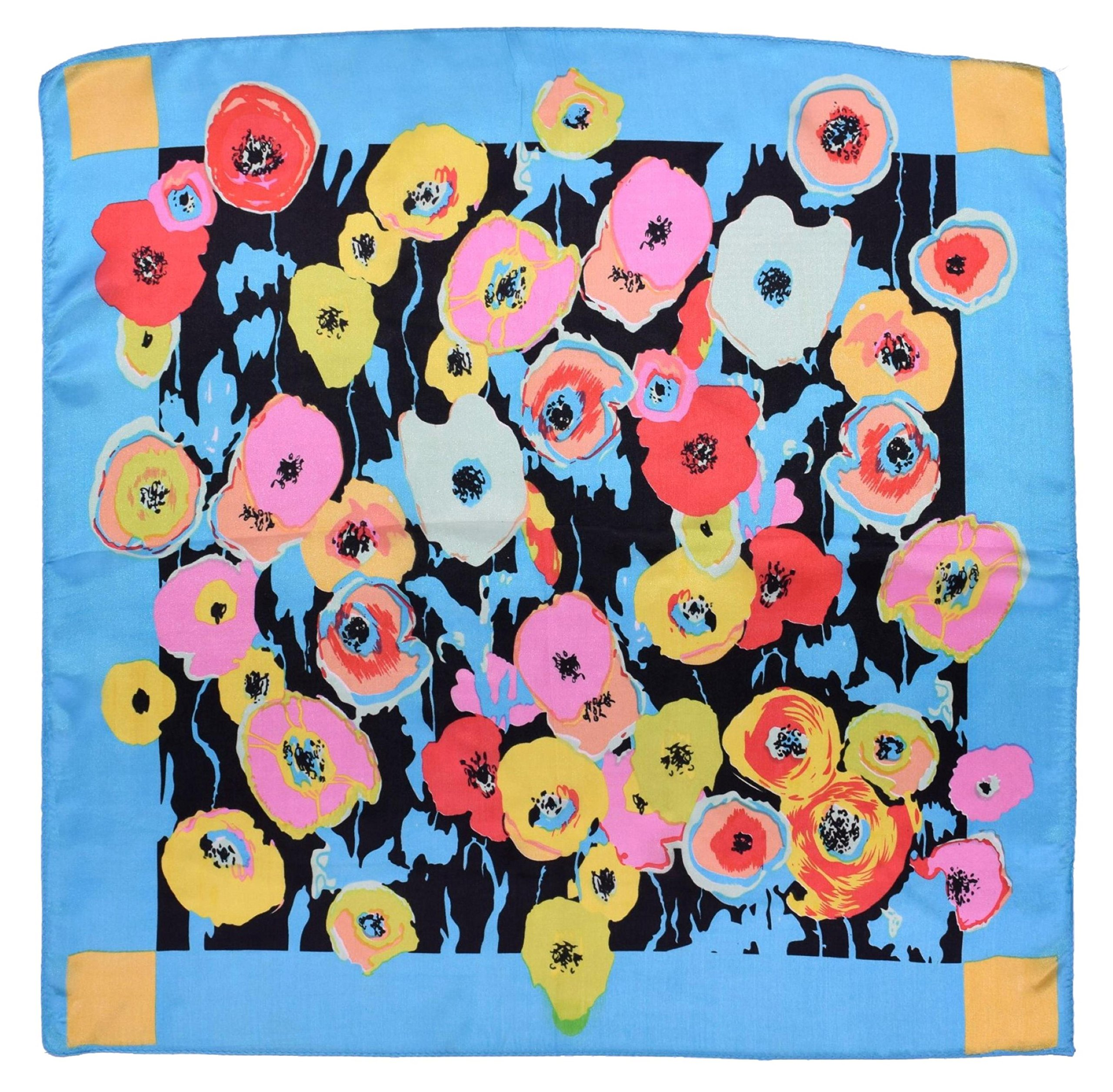 Blue Red Pink Flower Printed Fine Small Square Silk Scarf by Bees Knees Fashion (Image #2)