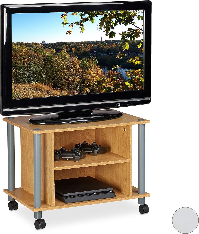 Relaxdays Mueble TV con Ruedas, Mesa televisión con 2 Compartimentos, Tablero de partículas, 45 x 60 x 40 cm, Marrón: Amazon.es: Hogar