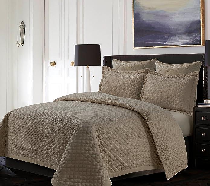 Taupe Brisbane Solid Oversized Diamond Quilt Set (Full/Queen) - Tribeca Living