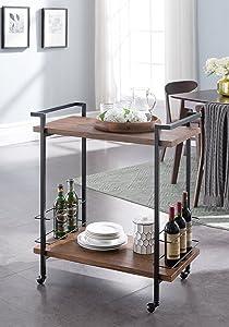 eHomeProducts Vintage Dark Brown/Black Metal Bar Tea Wine Holder Serving Cart