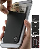 Phone Wallet - Adhesive Card Holder - Cell Phone Pouch - Stick on Lycra Pocket by Gecko - Carry Credit Cards and Cash - Cross Gray