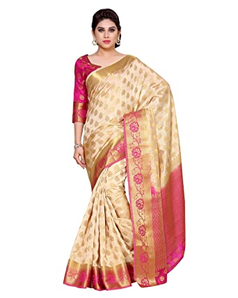 ccb3207f40 Mimosa Women's Silk Saree With Blouse Piece (4152-179-Tuss-Rni_Off-White):  Amazon.in: Clothing & Accessories