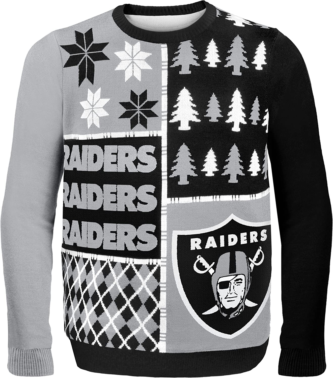 Medium NFL Oakland Raiders BUSY BLOCK Ugly Sweater