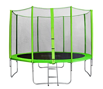 SixBros. SixJump 3,70 Trampolín Cama elástica de jardín Verde - Escalera - Red de Seguridad - Lluvia Cobertura TG370/1719