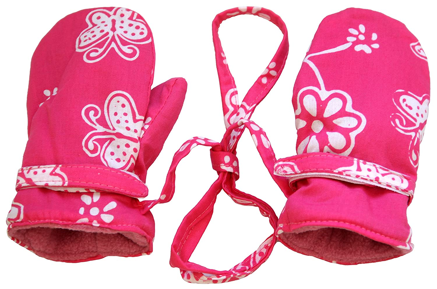 Back From Bali Baby Toddler Girl Mittens with String Micro Fleece Fun Prints