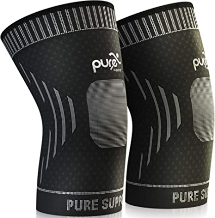 Crossfit Pure Support Knee Brace Compression Sleeve Support Sports Patella Stabilizer for Meniscus Tear Men Arthritis Pain for Running Women
