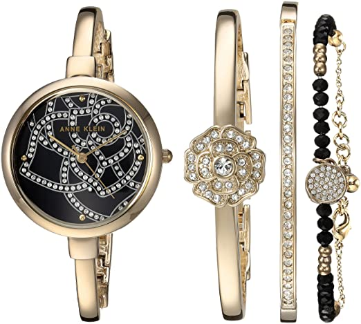 Anne Klein Women's AK/3080GBST Swarovski Crystal Accented Gold-Tone Bangle Watch and Bracelet Set