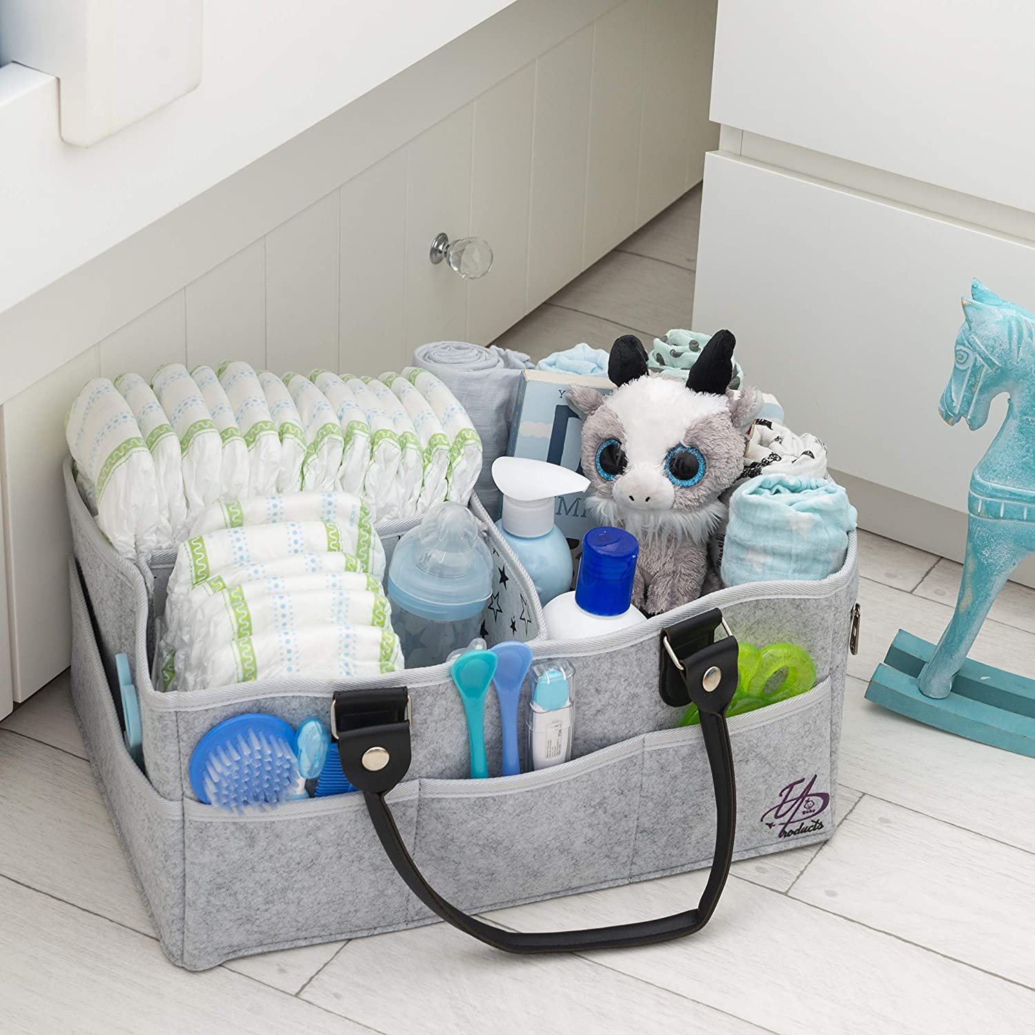 Baby Diaper Caddy Organizer Bag for Changing Table / Storage / Portable Nursery Basket | X-Large (16x11x7 inches) | 3 Inner sections 8 Pockets | Sturdy | Unisex | Gray | Bonus 2 Bibs, 2 Pacifier Clips 91cZc2BoESzL
