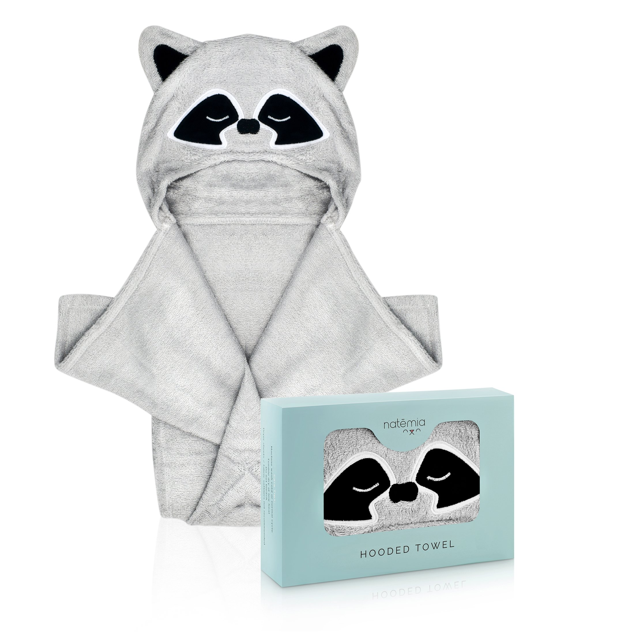 Natemia Extra Soft Rayon from Bamboo Hooded Towel for Kids   Highly Absorbent and Hypoallergenic   40'' X 30'' Large Animal Face Baby Bath Towel with Hood   Great Baby Shower  Registry Gift by Natemia