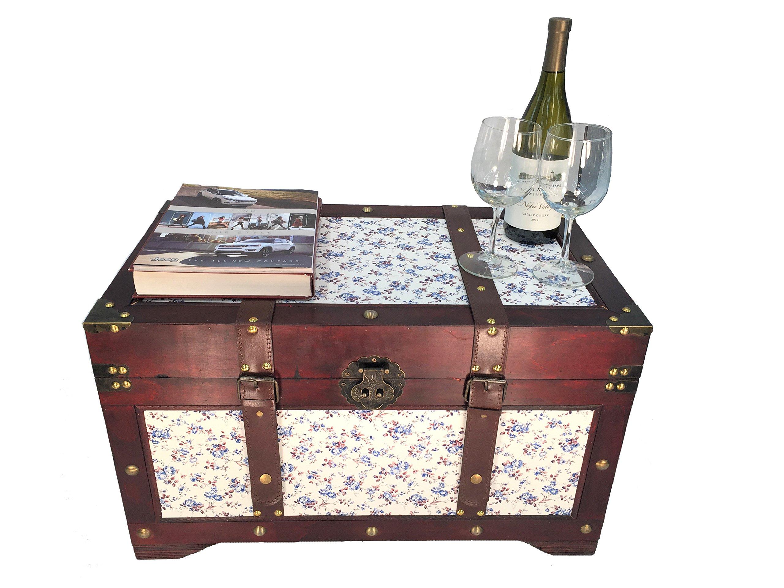 Savannh Medium Wood Storage Trunk Wooden Treasure Chest Blue