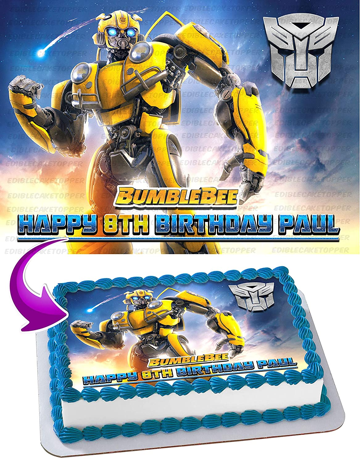 Bumblebee 2019 Transformers Edible Cake Image Topper