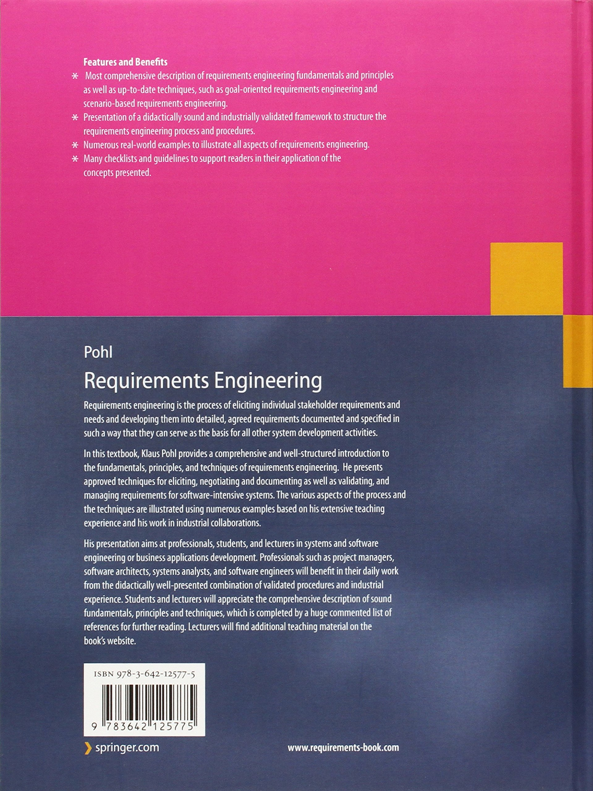 Requirements Engineering: Fundamentals, Principles, and Techniques by Springer