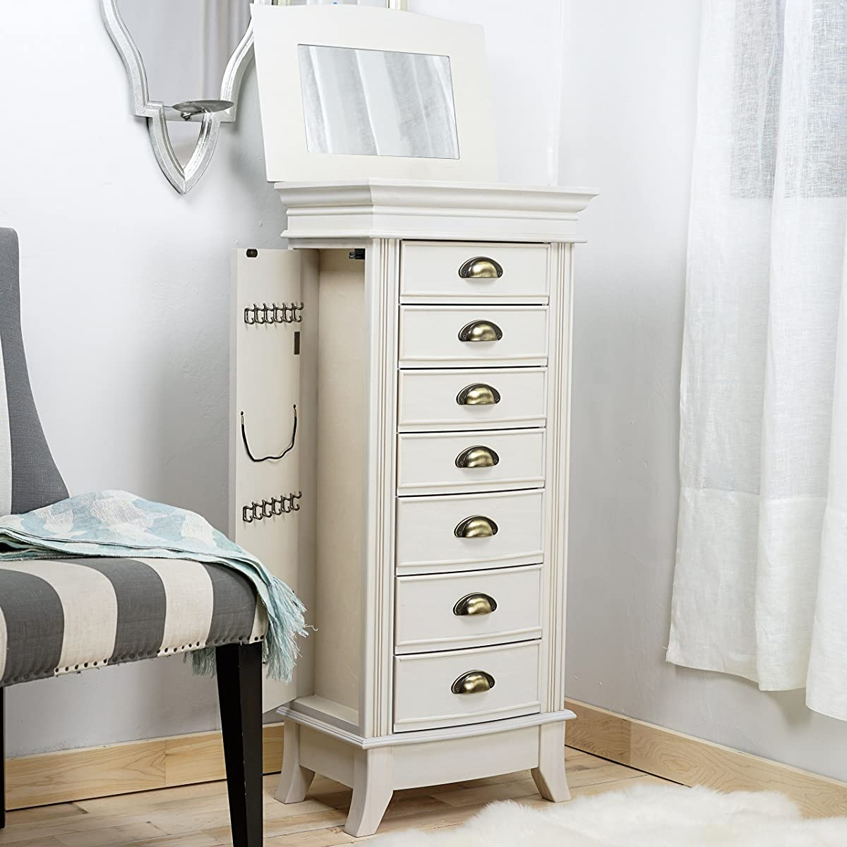 "Hives and Honey ""ALEXA"" Jewelry Armoire, Century White"