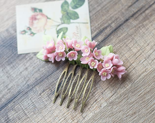 Amazon pink flower hair comb bridal hairpiece wedding pink flower hair comb bridal hairpiece wedding flowers for hair bridal hair flowers mightylinksfo