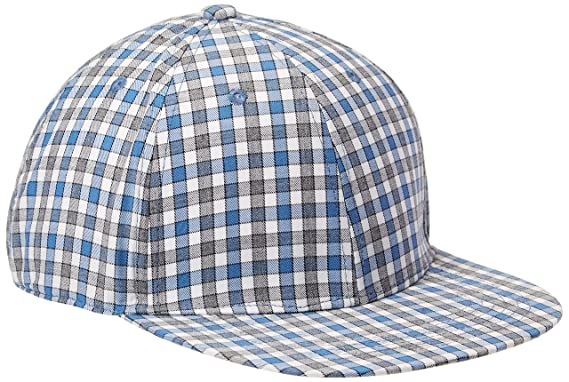 298a5f3da87 Amazon.com  Rebel Canyon Men s Check Flat Brim Trucker Hat Blue  Clothing