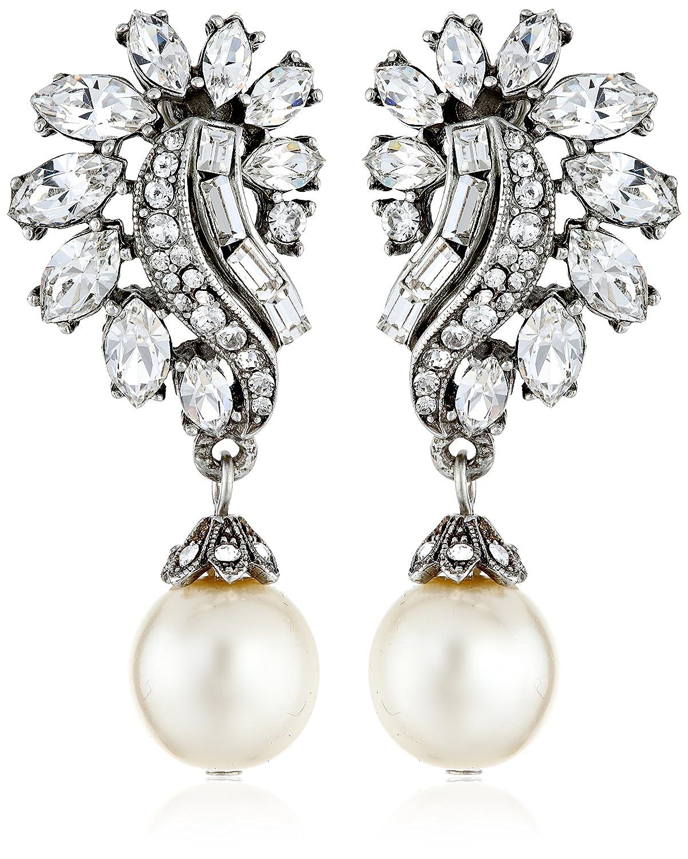 Amazon.com: Ben-Amun Jewelry Swarovski Crystal and Glass Pearl Post Earrings  for Bridal Wedding Anniversary: Jewelry