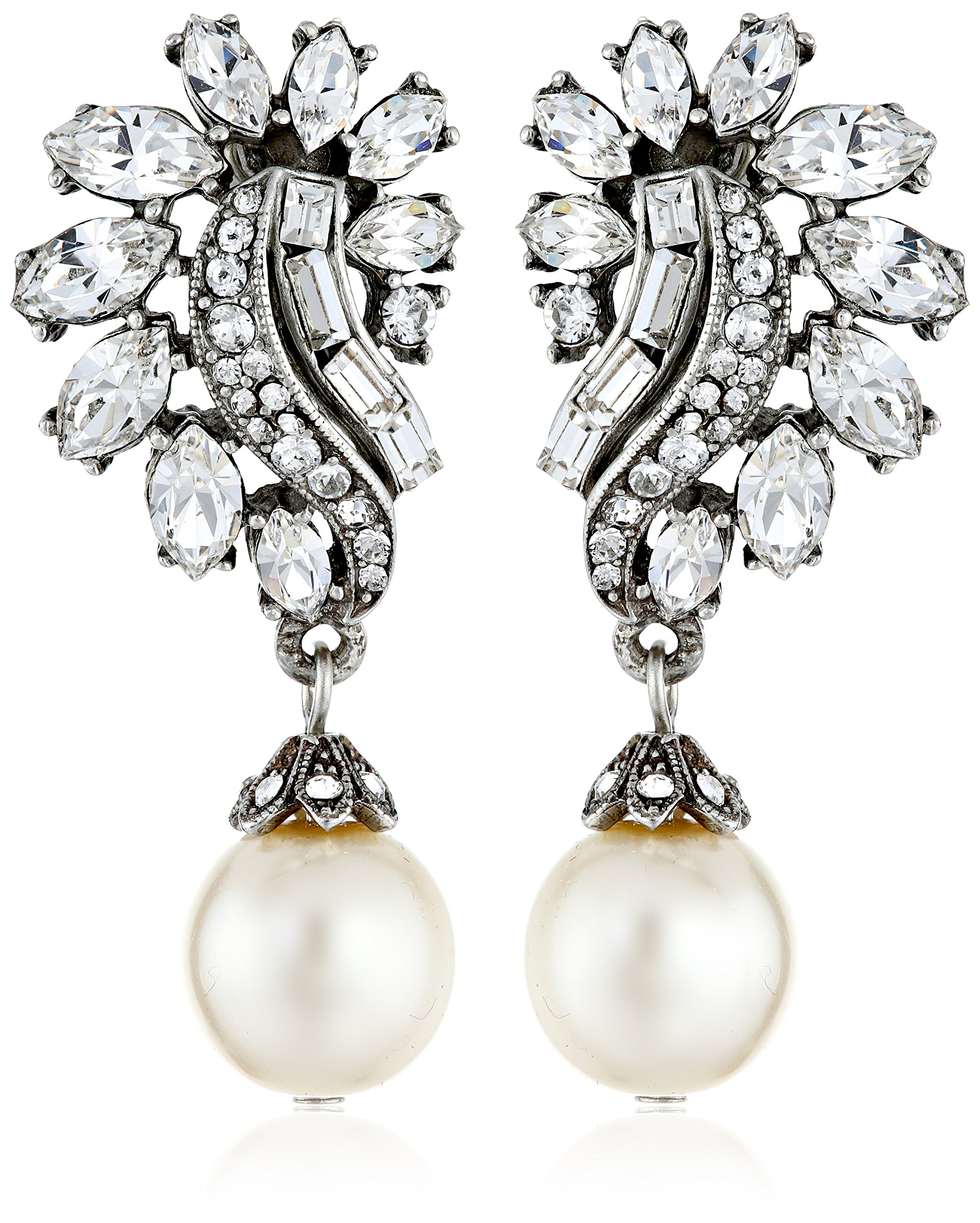 Ben-Amun Jewelry Swarovski Crystal and Glass Pearl Post Earrings for Bridal Wedding Anniversary
