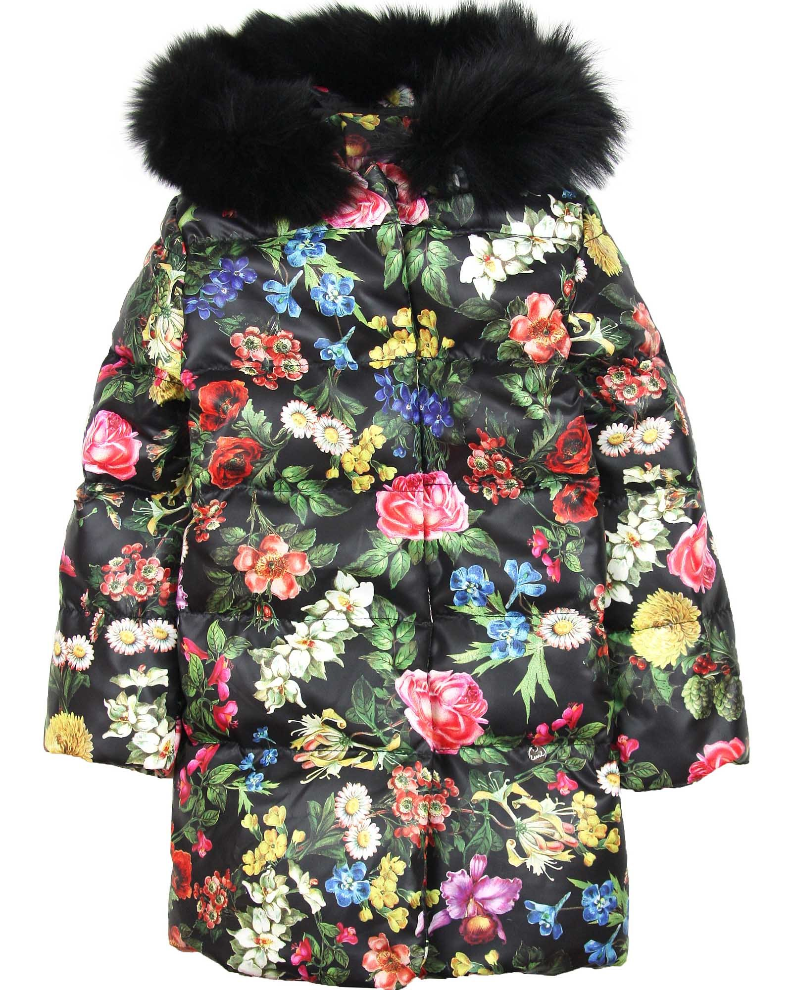 Love Made Love Girls' Floral Goose Down Coat with Fox Fur, Sizes 6-12 (7/8)