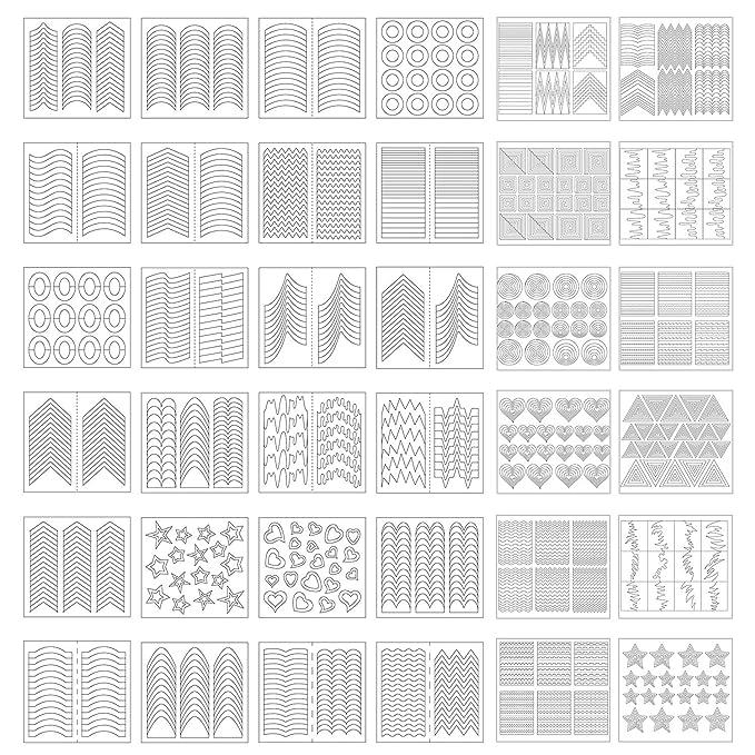 1275 Piezas 49 Diseños De Plantillas De Arte De Uñas Pegatinas De Vinilo De Guía De Punta Francesa 36 Hojas