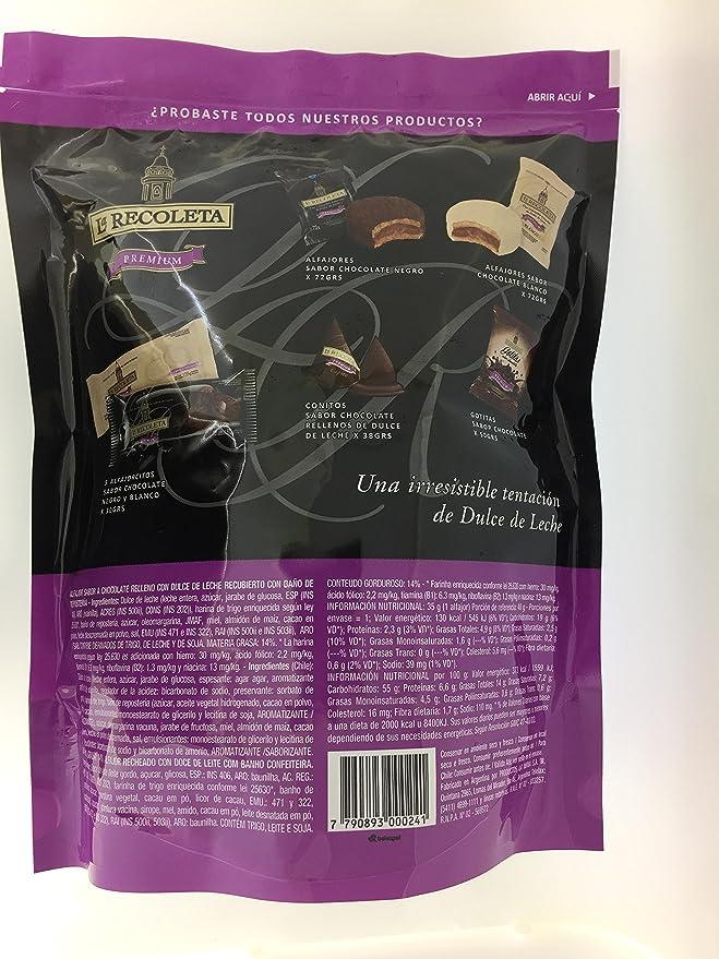 Pack de Alfajores rellenos de dulce de leche y Bañados en Chocolate Negro. LA RECOLETA Premium. 10 unidades.: Amazon.es: Alimentación y bebidas