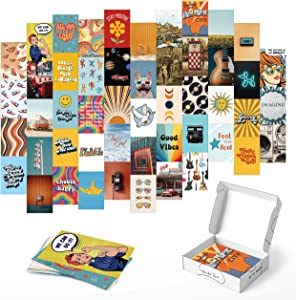 """Haus and Hues Hippie Posters Aesthetic Wall Collage Kit - Set of 50 Photo Wall Collage Kit for Teen Room Decor 