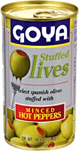 Goya Foods Manzanilla Olives Stuffed with Hot Peppers, 5.25 Ounce (Pack of 12)