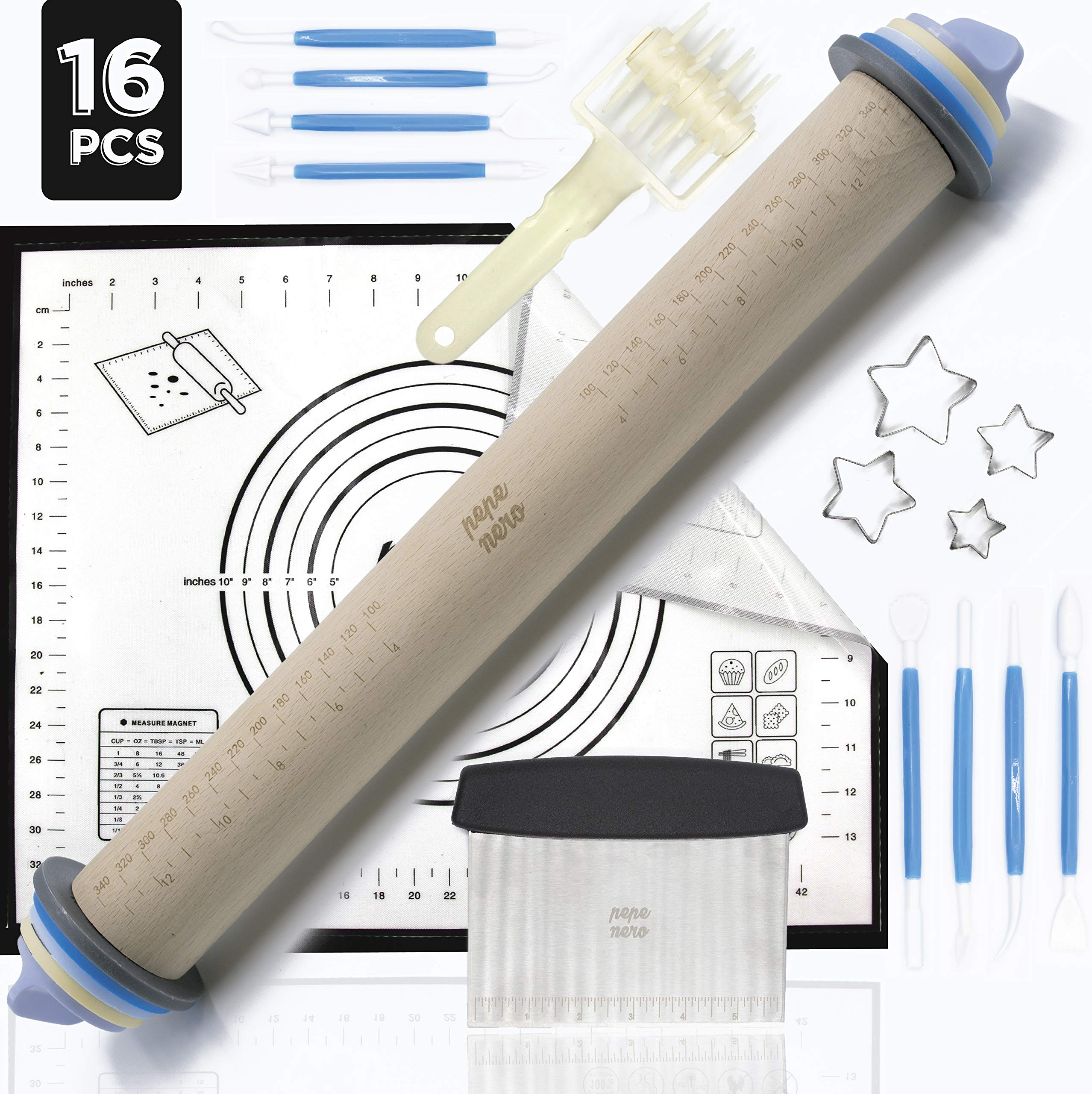 Rolling Pin - Adjustable Rolling Pin - Silicone Baking Mats For Sugar Cookies - Pastry Mat - Pastry Cutter- Pasta Roller - Dough Roller - Pizza Roller - Baking Supplies - Fondant Tools - Dough Cutter by Pepe Nero