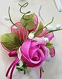 Set 24 pezzi, Bomboniera fiore bouquet bocciolo, + racchettine portaconfetti. (ck2021) (FUXIA)