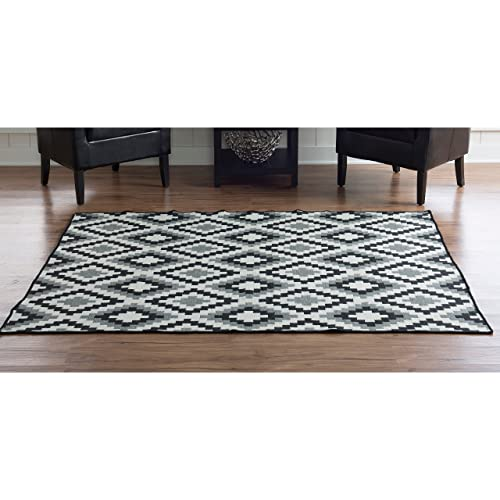 Linon Salonika Collection Jagged Diamonds Natural Fiber Rugs 5 x 8 Gray