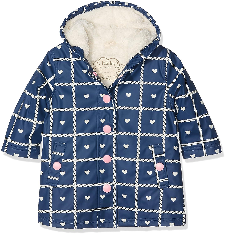 Hatley Kids Splash Jacket - Navy Plaid with Hearts