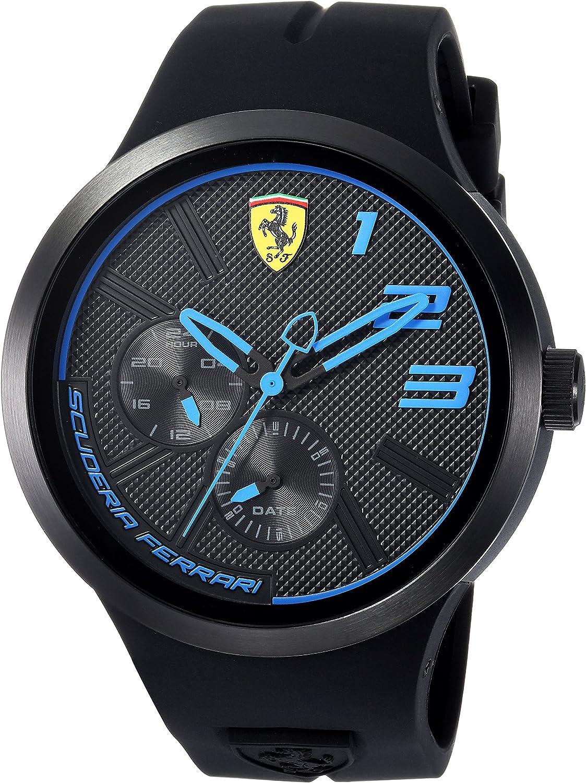 Scuderia Ferrari Men's FXX Quartz Watch with Silicone Strap, Black, 15.29 (Model: 0830395)