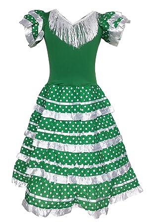 La Senorita Vestido Flamenco Español Traje de Flamenca Chica/niños Verde Blanco (Talla 12