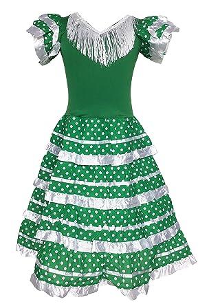 4ae61f040e6bf La Senorita Spanish Flamenco Dress Green White: Amazon.co.uk: Clothing
