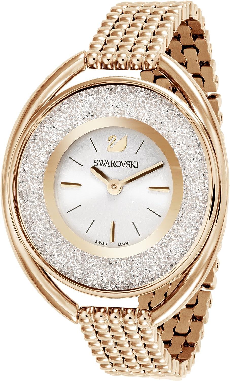 Swarovski Montre Crystalline Oval, Bracelet en Métal, Acier Inoxydable Blanc/Rose