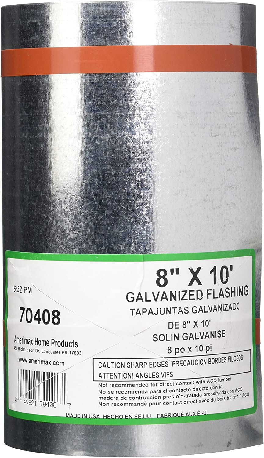 AMERIMAX HOME PRODUCTS 70408 8-Inch x10-Feet Galvanized Flashing